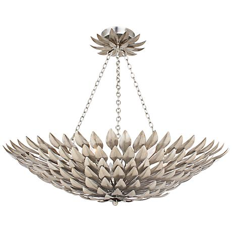 "Crystorama Broche 24"" Wide Antique Silver Ceiling Light"
