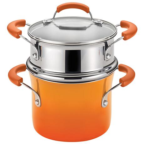 Rachael Ray Orange Enamel Nonstick 3-Quart Steamer Set