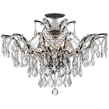 "Crystorama Filmore 27"" Wide Bronze Crystal Ceiling Light"