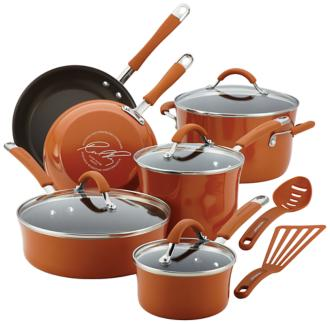 Rachael Ray Cucina 12-Piece Orange Cookware Set (5R145) 5R145