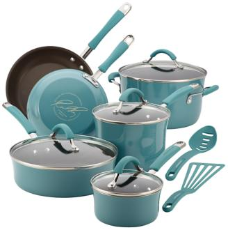 Rachael Ray Cucina 12-Piece Agave Blue Cookware Set (5R173) 5R173
