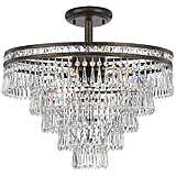 "Crystorama Mercer 20"" Wide Crystal Bronze Ceiling Light"