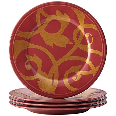 Rachael Ray Dinnerware Gold Scroll 4-Piece Red Plate Set