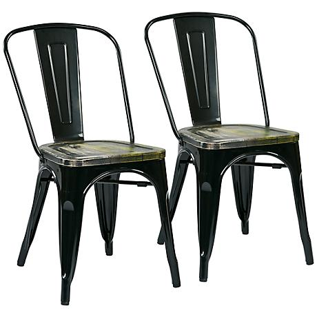 Bristow Set of 2 Ash and Black Metal Dining Chairs