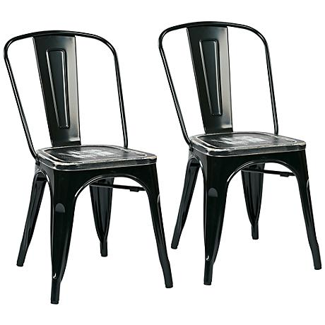 Bristow Set of 2 Vintage Ash and Black Metal Dining Chairs