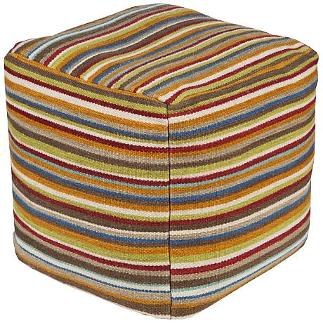 Surya Cathay Spice Multi-Color Striped Pouf Ottoman