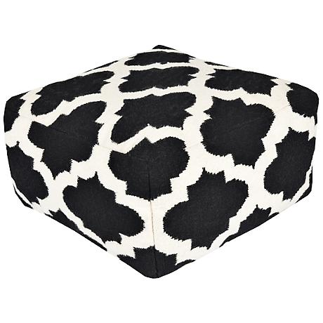 Surya Trellis Jet Set Black Wool Rectangular Pouf Ottoman