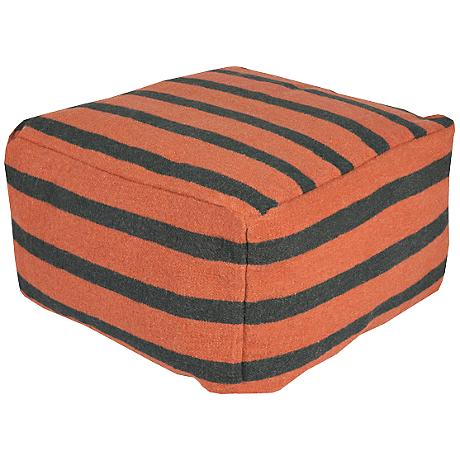 Surya Orange Ochre Wool Striped Rectangular Pouf Ottoman