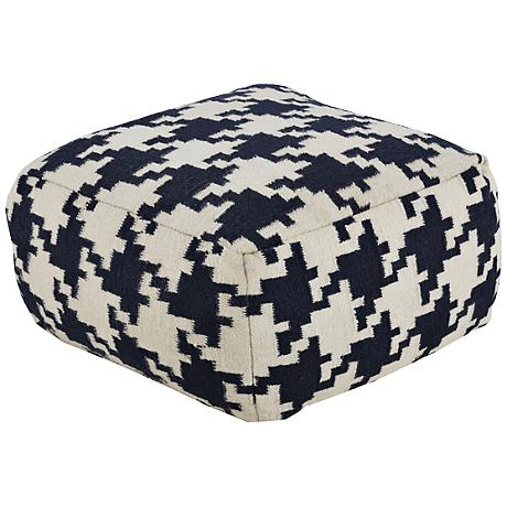 Surya Houndstooth Dark Blue Wool Rectangular Pouf Ottoman