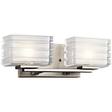 "Kichler Bazely 15"" Wide High Mitered Glass Bath Light"