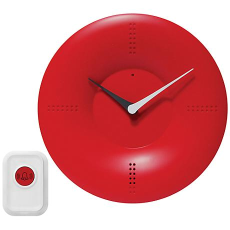 "Laurentia Red 10"" Round Doorbell Wall Clock"