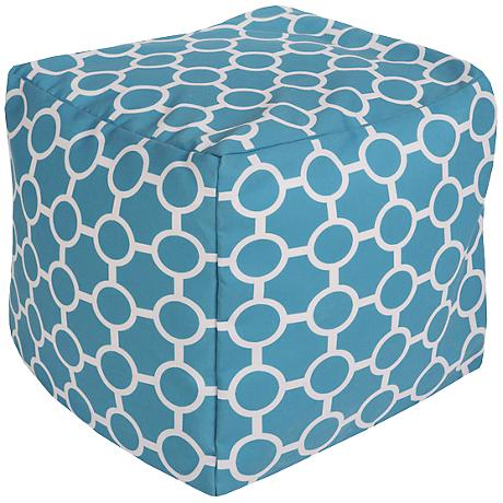 Surya Mod Peacock Blue Square Indoor/Outdoor Pouf Ottoman