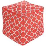 Surya Mod Persimmon Square Indoor/Outdoor Pouf Ottoman