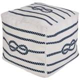 Surya Nautical Knot Off-White Square Pouf Ottoman