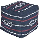 Surya Nautical Knot Bijou Blue Square Pouf Ottoman