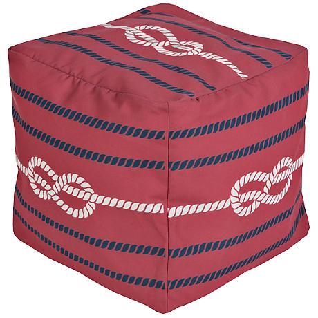 Surya Nautical Knot Aurora Red Square Pouf Ottoman
