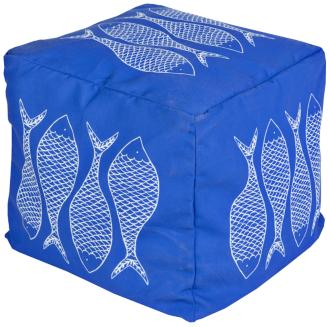 Surya Fish Nautical Blue Square Pouf Ottoman (5R840)