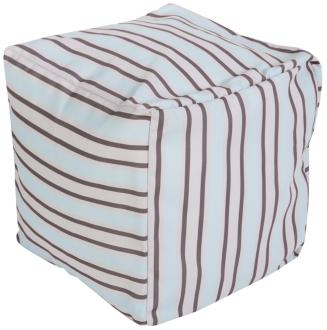 Surya Nautical Stripe Whispering Blue Pouf Ottoman (5R852)
