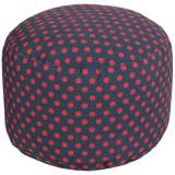 Surya Polka Dot India Ink Navy Round Pouf Ottoman
