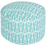 Surya Anchors Aquatic Blue Round Pouf Ottoman