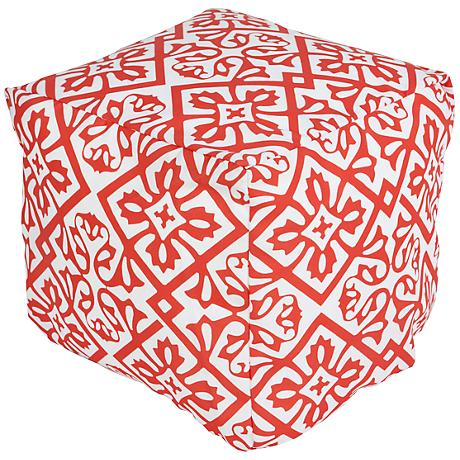 Surya Lattice Porcelain Rose Coral Square Pouf Ottoman