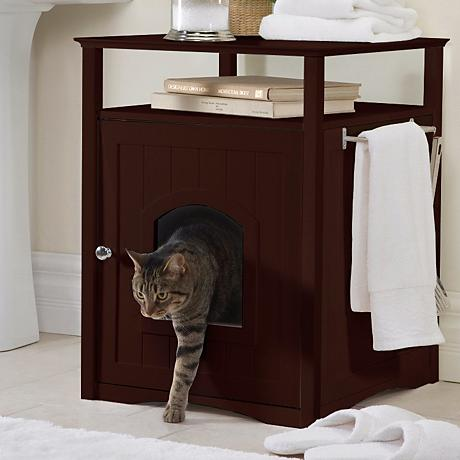 Walnut Brown White Pet Washroom and Pet House