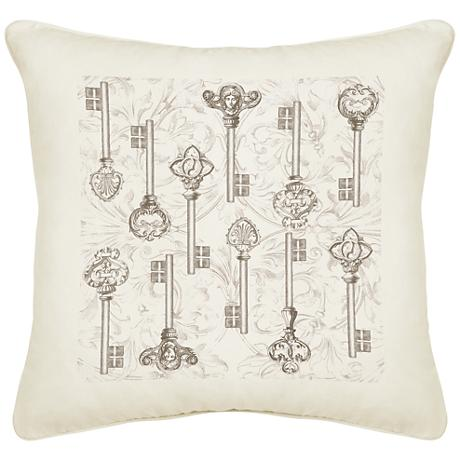 "Keys Cream Canvas 18"" Square Pillow"