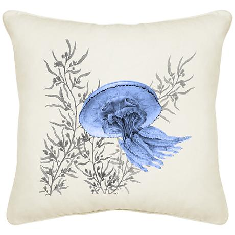 "Blue Jellyfish Cream Canvas 18"" Square Pillow"