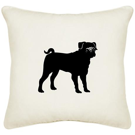 "Pug Cream Canvas 18"" Square Pillow"
