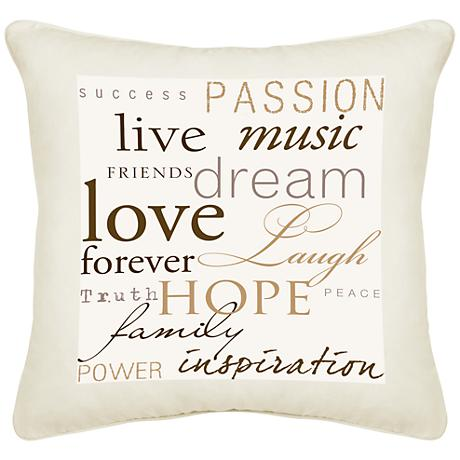 "Positivity Cream Canvas 18"" Square Pillow"