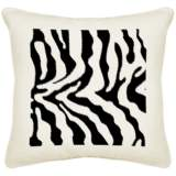 "Safari Zebra Cream Canvas 18"" Square Pillow"
