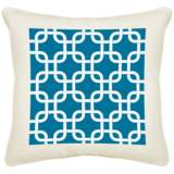 "Blue Lattice Cream Canvas 18"" Square Pillow"