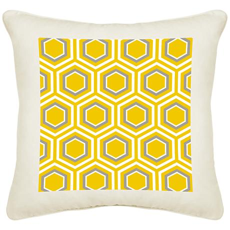 "Honeycomb Cream Canvas 18"" Square Pillow"