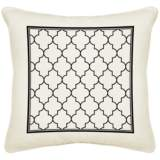 "Tangier White Cream Canvas 18"" Square Pillow"
