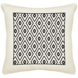"Black Diamonds Cream Canvas 18"" Square Pillow"