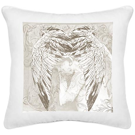 "Wings White Canvas 18"" Square Decorative Pillow"