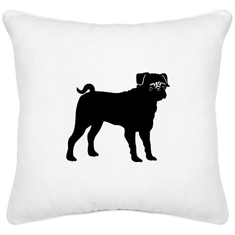 "Pug White Canvas 18"" Square Decorative Pillow"