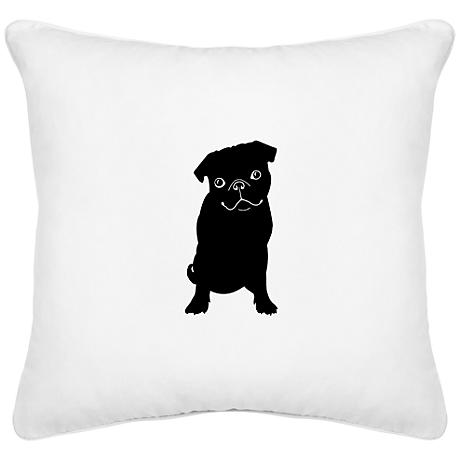 "Sitting Pug White Canvas 18"" Square Decorative Pillow"