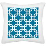 "Blue Lattice White Canvas 18"" Square Decorative Pillow"