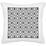"Black Diamonds White Canvas 18"" Square Decorative Pillow"