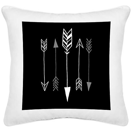"Arrows White Canvas 18"" Square Decorative Pillow"
