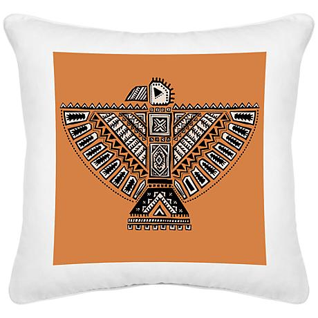 "Free Bird White Canvas 18"" Square Decorative Pillow"