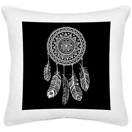 "Dream Catcher White Canvas 18"" Square Decorative Pillow"