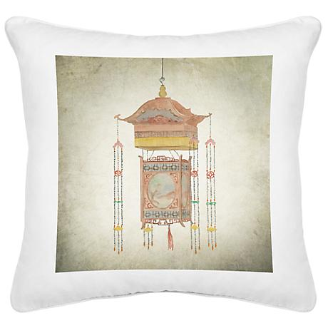 "Chinese Lantern I White Canvas 18"" Square Pillow"