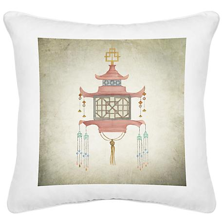 "Chinese Lantern II White Canvas 18"" Square Pillow"