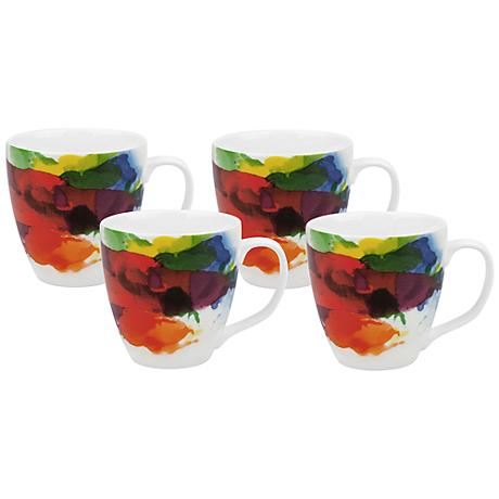 """On Color!"" Porcelain Mugs Set of 4"