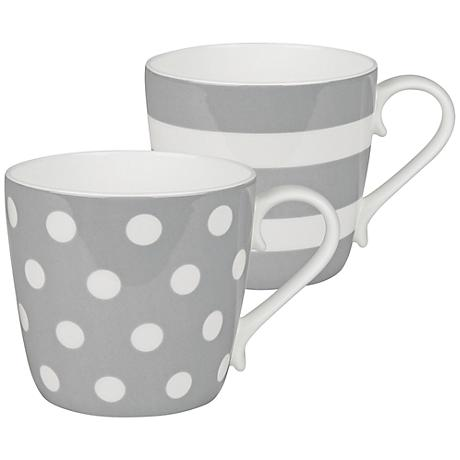 Gray Dots and Stripes 2-Piece Porcelain Mug Set
