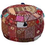 Surya Exotic Patchwork Ruby Wine Burgundy Pouf Ottoman