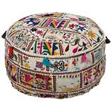 Surya Exotic Patchwork Multi-Color Cotton Pouf Ottoman