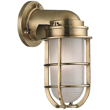 "Hudson Valley Carson 10"" High Aged Brass Wall Sconce"